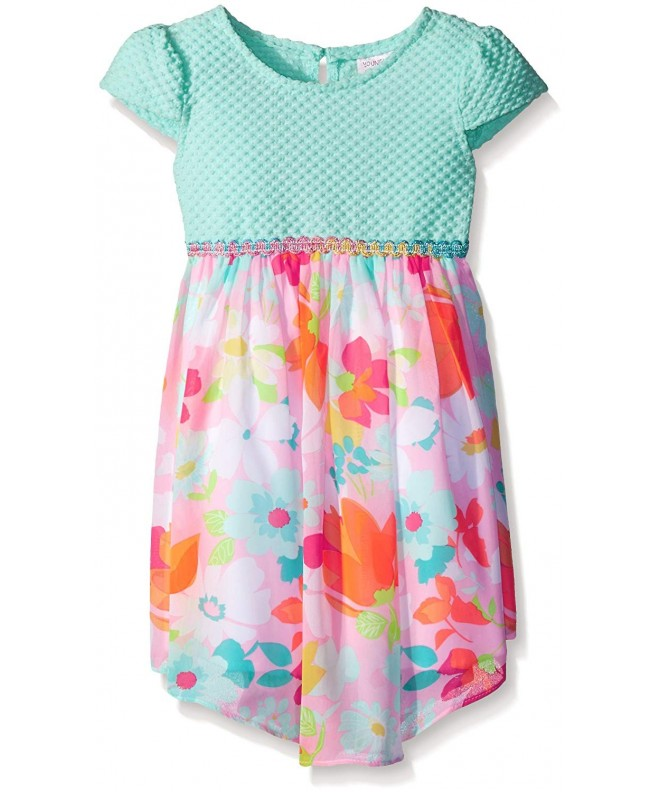 Youngland Girls Textured Floral Chiffon