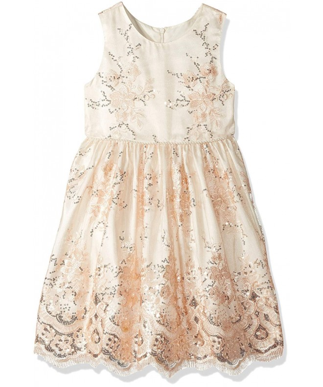 Jayne Copeland Embroidered Sequins Scallop Dress