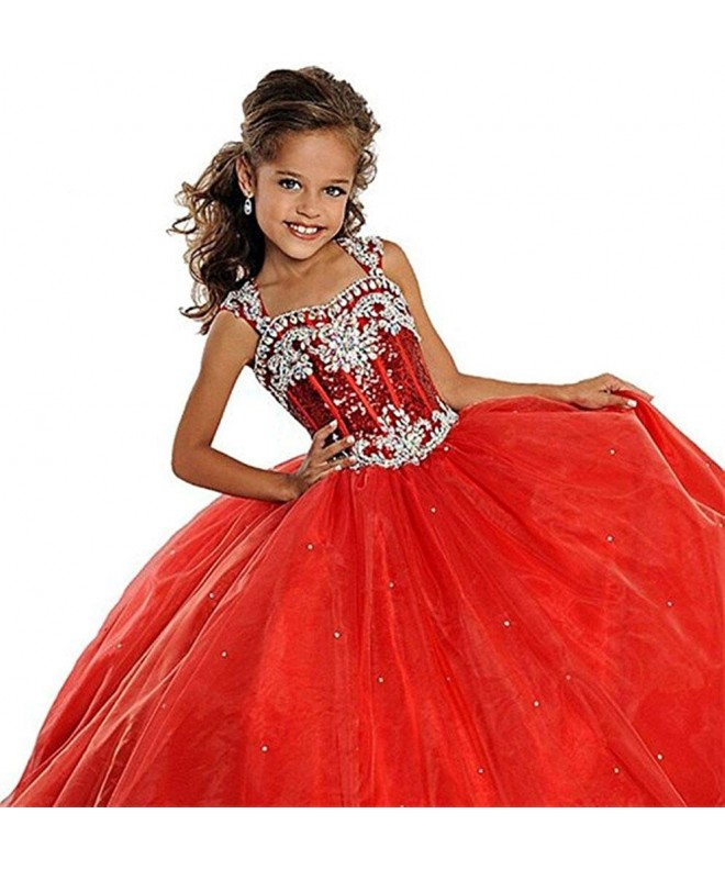 HSDJ Crystals Ruffled Pageant Dresses