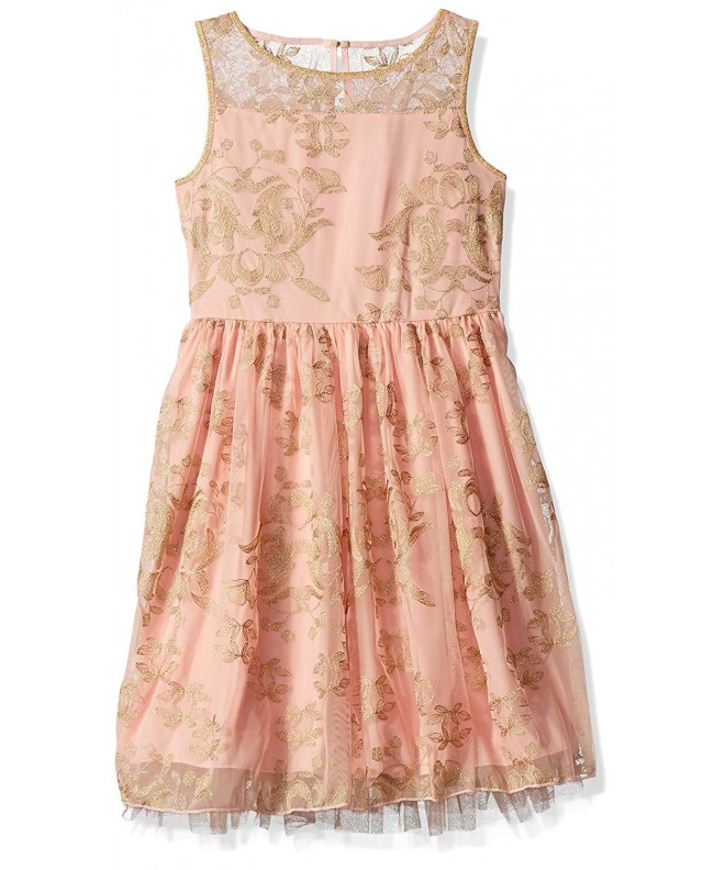 Speechless Girls Gold Floral Dress