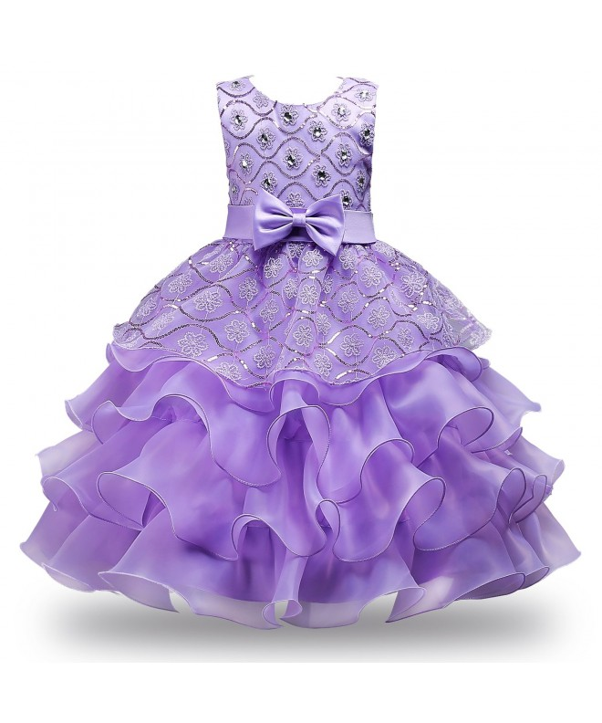 JerrisApparel Ruffles Embroidered Sequined Pageant