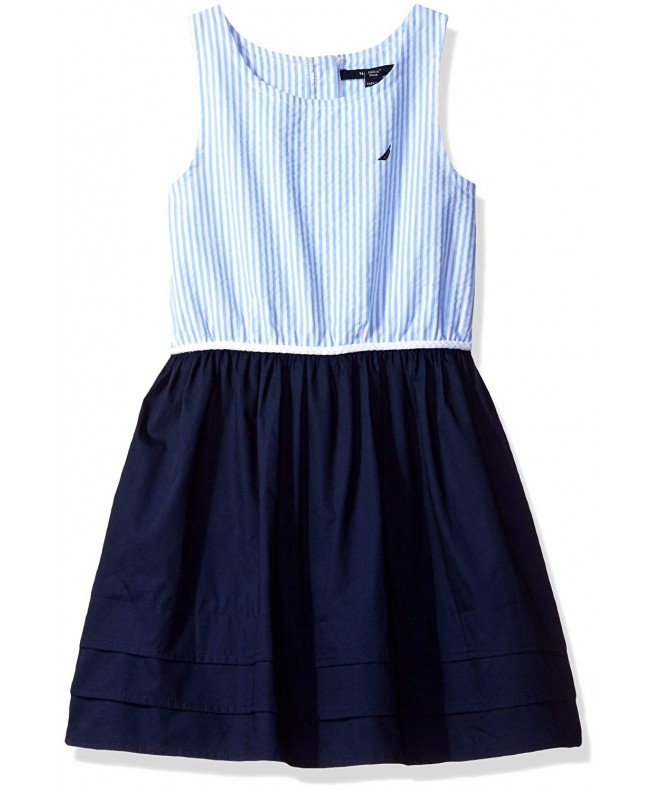Nautica Stripe Oxford Bodice Pleated