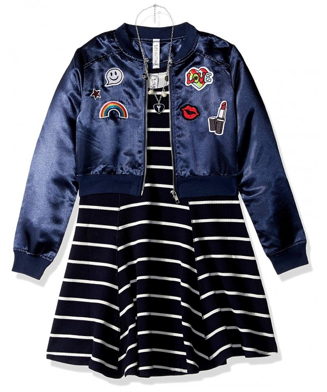 Beautees Patches Bomber Jacket Stripe