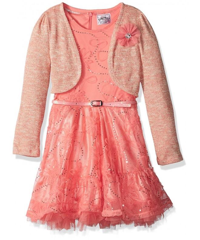 Beautees Girls Soutache Dress Metallic