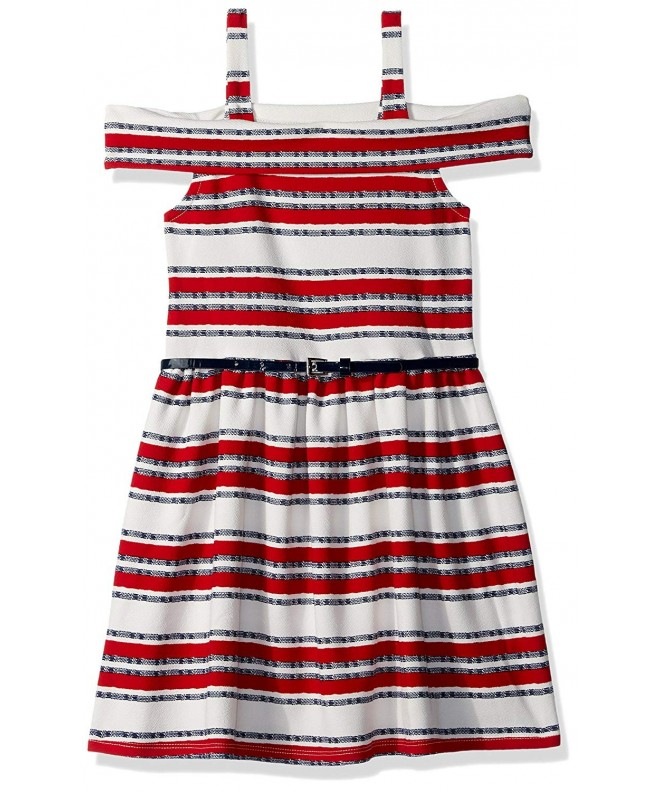 Beautees Girls Shoulder Stripe Dress