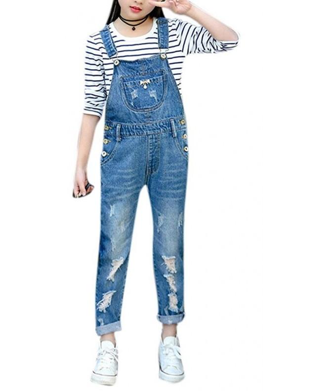 Girls Distressed Overalls Suspender Shortall