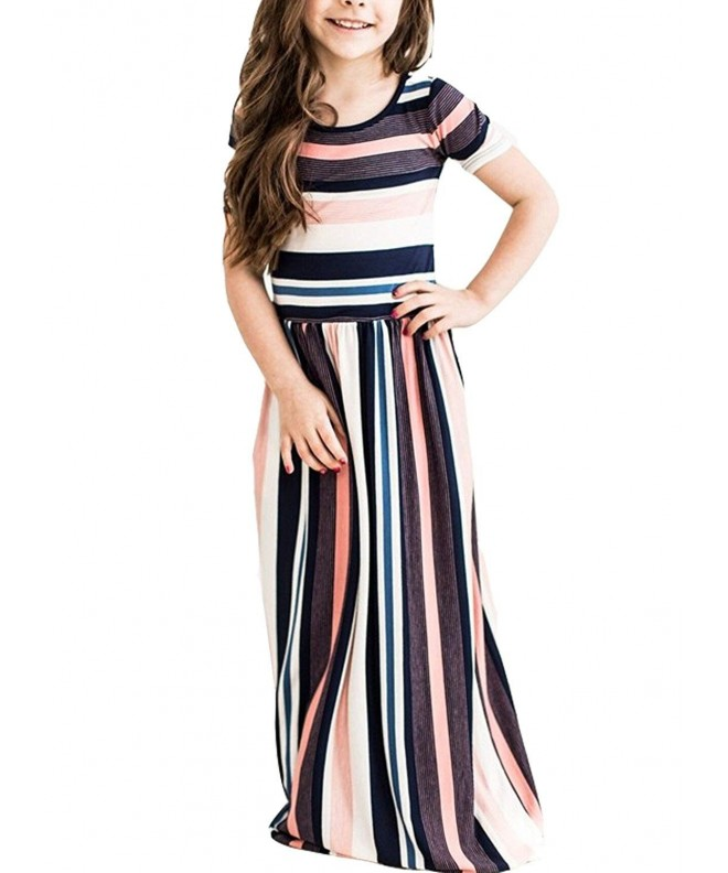 Lovezesent Girls Casual Striped Pockets
