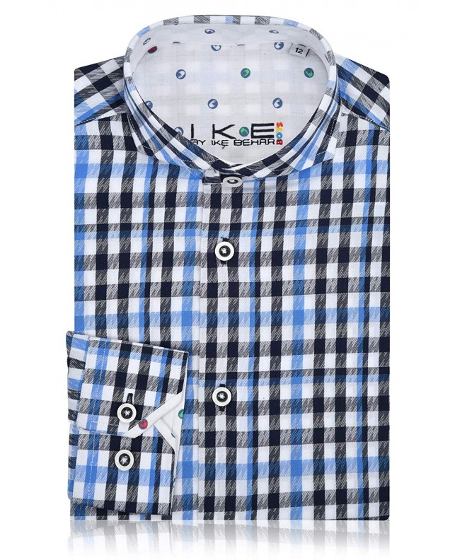 Ike Behar Checkered Sleeve Button