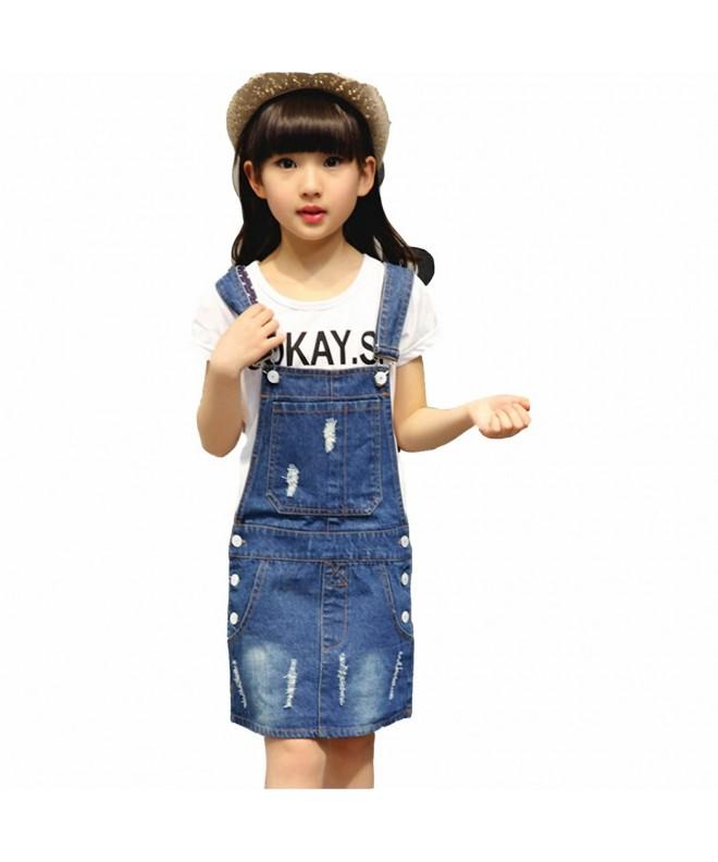 Kidscool Girls Ripped Denim Overalls