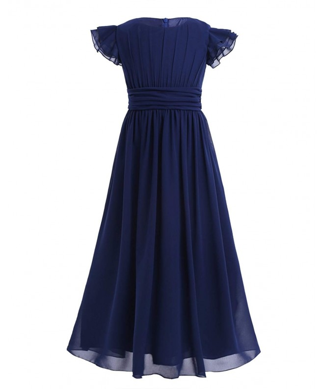 YiZYiF Flutter Sleeves Ruffles Bridesmaid