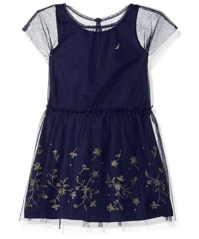 Nautica Girls Dress Embroidered Overlay