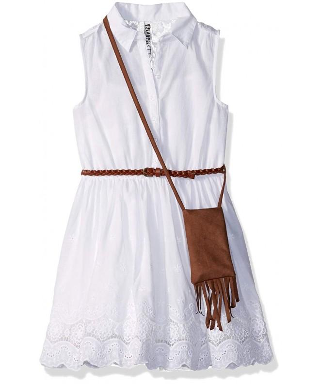 Beautees Girls Sleeveless Embroidered Shirtwaist