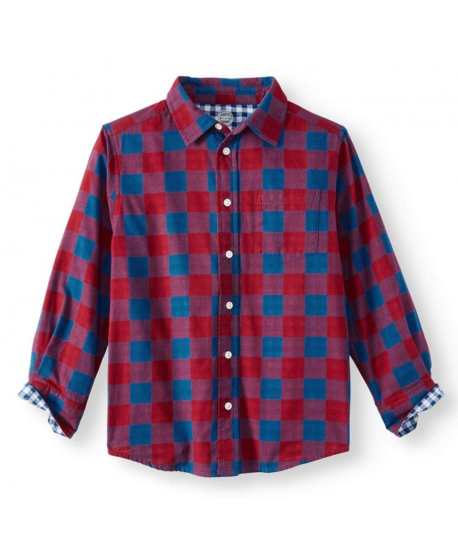 Sleeve Button Plaid Woven Shirt
