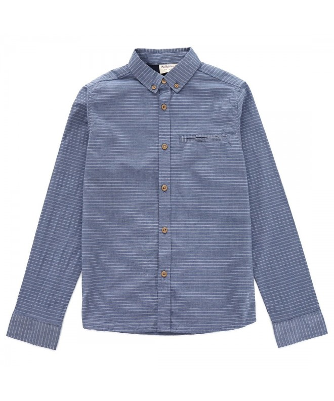 MOMOLAND Sleeve Striped Chambray Button