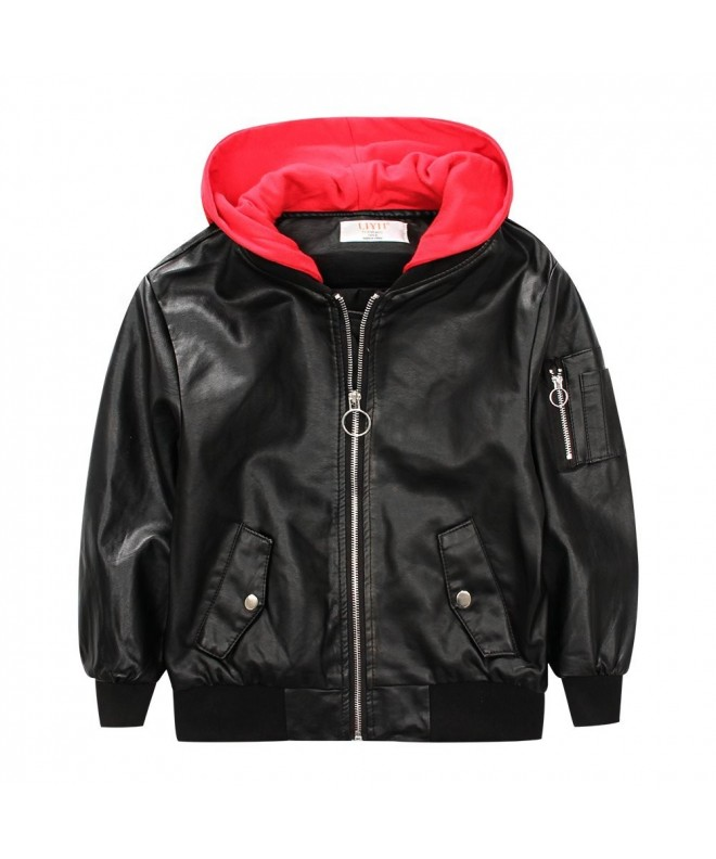LJYH Leather Hoodie Outerwear Bomber