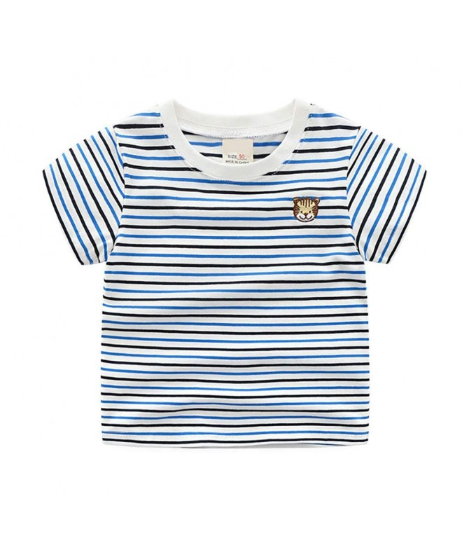 Motecity Fashion Embroidery Striped T Shirt