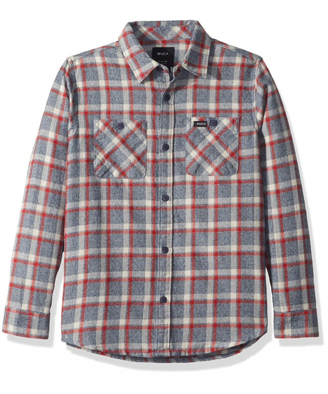 RVCA Sleeve Plaid Woven Button