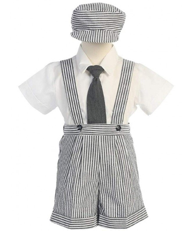 Boys Charcoal Seersucker Suspender Shorts