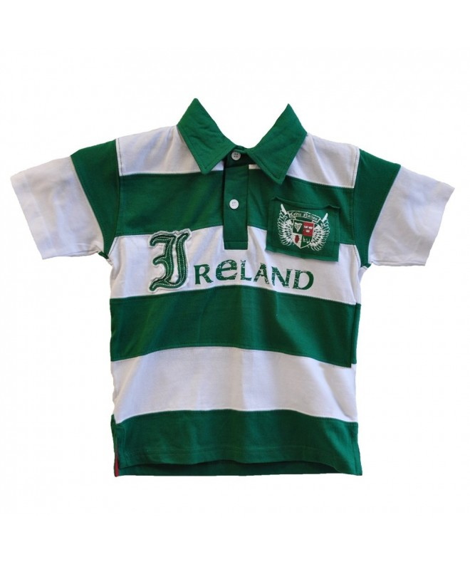Green White Striped Kids Polo