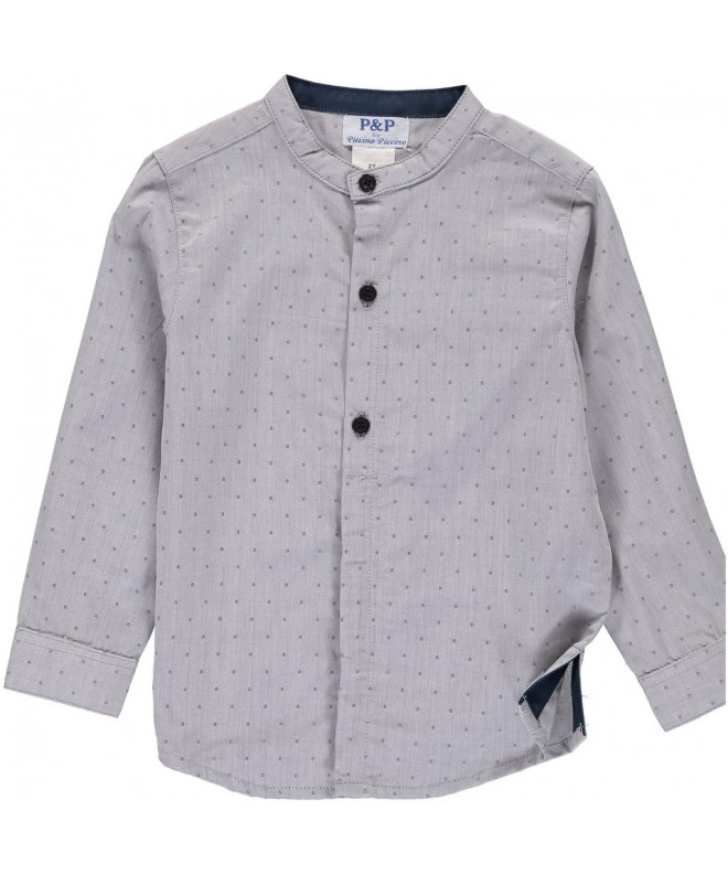 Boys Gray Button Dotted Pattern
