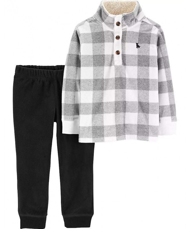 2 Piece Checkered Fleece Pullover Pant