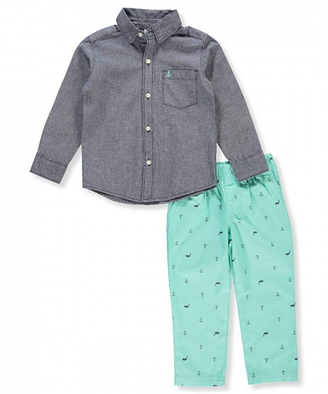 Carters Months 2 Piece Chambray Printed
