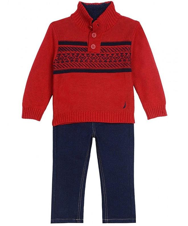 Nautica Sherpa Lined Fairisle Sweater