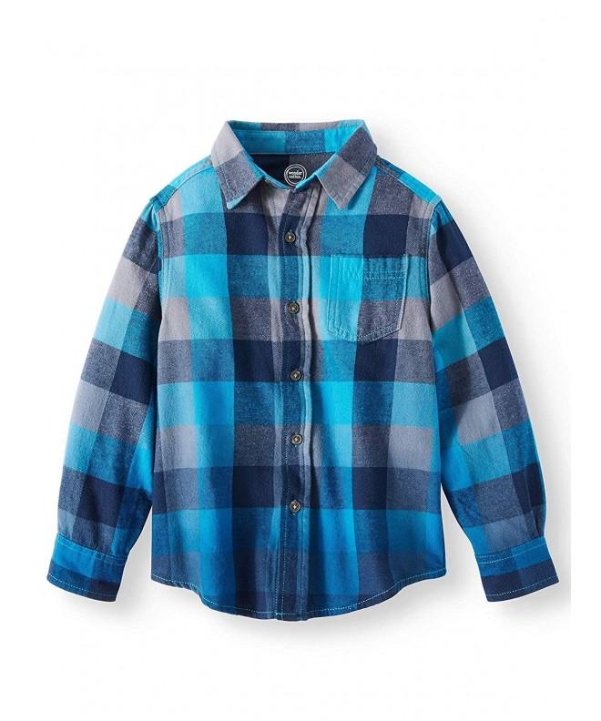 Sleeve Button Plaid Flannel Shirt