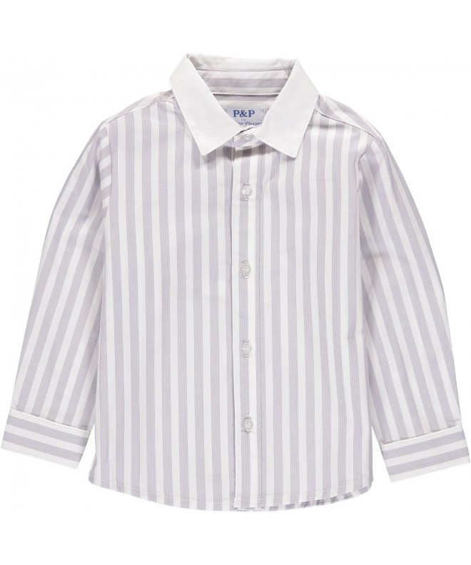 Boys White Gray Striped Button