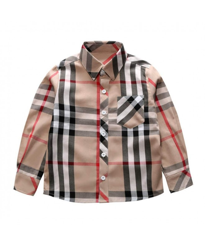 Sleeve Cotton Plaid Button Shirts