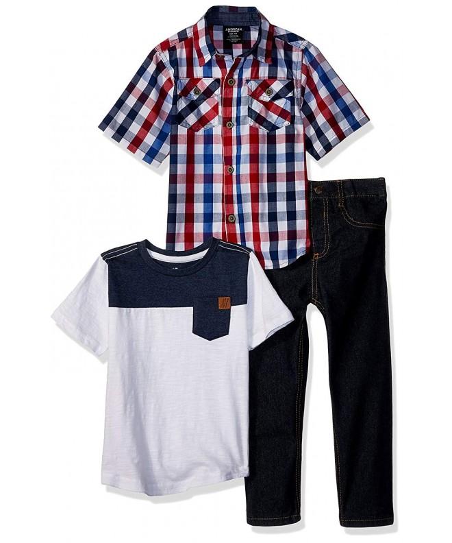 American Hawk Sleeve Plaid T Shirt