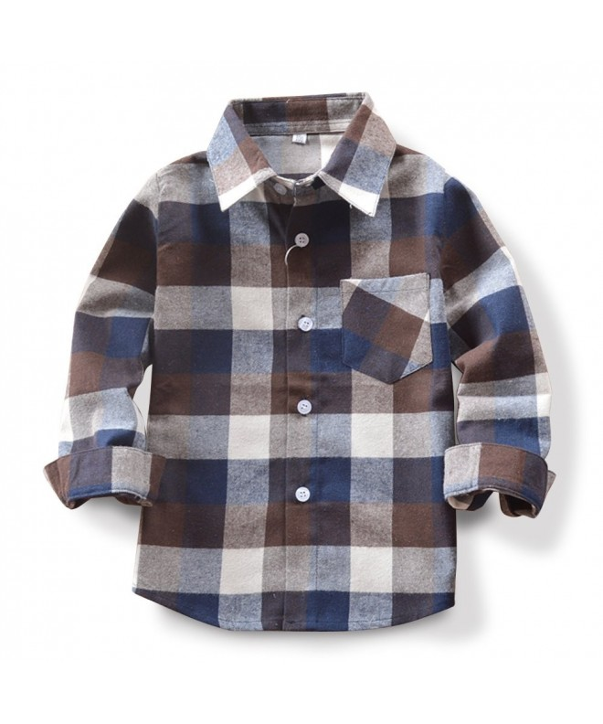 Mesinsefra Boys Plaid Flannel Shirt