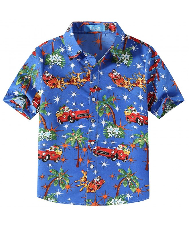 SSLR Casual Button Hawaiian Christmas