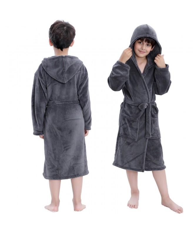 Hooded Herringbone Fleece Sleepwear Bathrobe